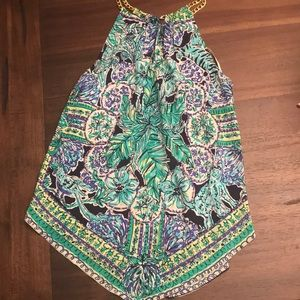 Lilly Pulitzer chain neck handkerchief silk blouse
